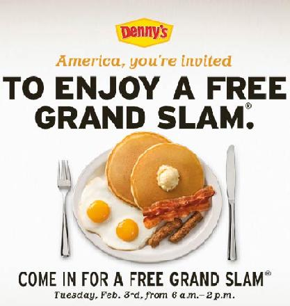 Denny's Free Grand Slam Breakfast